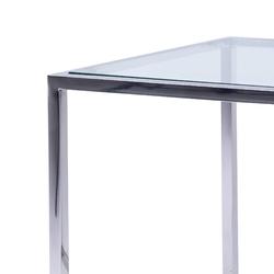 Stolik cromo szklany srebrny kwadratowy chromowany