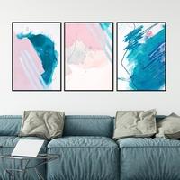 Zestaw trzech plakatów - chaos pink , wymiary - 40cm x 50cm 3 sztuki, kolor ramki - biały