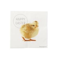 Serwetki papierowe białe happy easter kurczaki