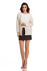 Beżowy sweterkowy komplet kardigan + dwukolorowy top