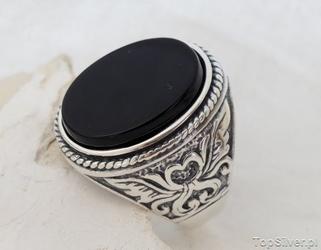 Magnat naturalny onyks - srebrny sygnet