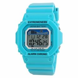 Zegarek damski SKMEI 6918 LED STOPER baby blue - baby blue