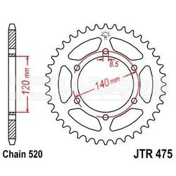 Zębatka tylna stalowa jt 475-42, 42z, rozmiar 520 2300396 kawasaki klr 250