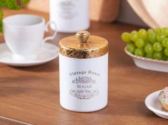 Pojemnik  puszka do przechowywania kawy, herbaty, cukru, ciasteczek altom design okrągła ze złotą pokrywką sugar 9 x 11,5 cm