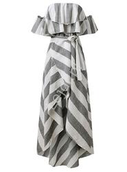 Letnia sukienka w paski z falbanami