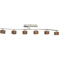 Lampa sufitowa z sześcioma reflektorami LED w drewnianej obudowie RegenBogen 725010906