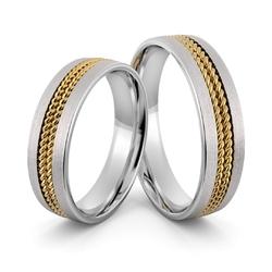 Obrączki ślubne z warkoczami z białego złota palladowego - au-1009