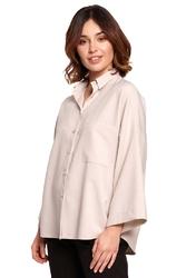 Oversizowa koszula z szerokim rękawem 34 - beżowa