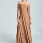 Maxi sukienka odsłaniająca ramiona - beżowa
