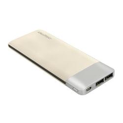Qoltec Power Bank | szampański | 10000mAh | Li-poly | 2x USB 2.1A