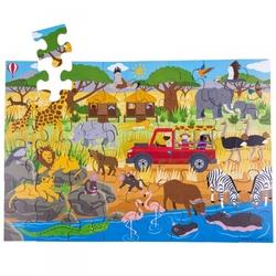Puzzle drewniane safari zwierzęta bj916 48el.