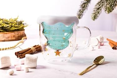 Kubek termiczny z podwójną ścianką i dnem do napojów altom design choinka 300 ml