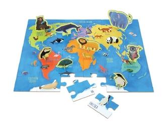 ZWIERZĘTA ŚWIATA puzzle zestaw z figurkami