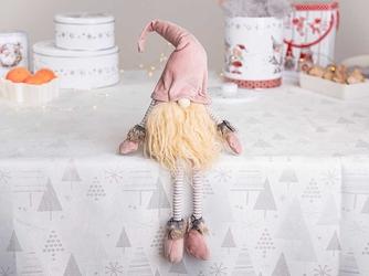Skrzat świąteczny  gnom  krasnal skandynawski  dekoracja świąteczna na boże narodzenie altom design różowy 41 cm siedzący