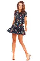 Zwiewna wzorzysta granatowa sukienka z wiązaniem