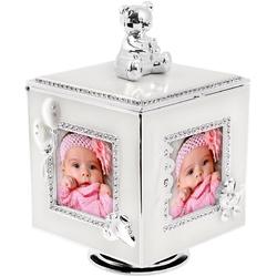 Karuzela miś z pozytywką, szkatułką i miejscem na 4 zdjęcia na chrzest roczek dedykacja - karuzela miś z pozytywką perłowy