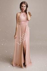 Przepiękna jasno różowa suknia wieczorowa wysmuklająca sylwetkę 1319