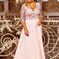 Jasno różowa suknia wieczorowa plus size, zdobiona koronką i cekinami - crystal 34