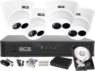Zestaw do monitoringu:rejestrator ip bcs-p-nvr0401-4k-e + 4x kamera 4mpx bcs-p-214r3s-e-ii + dysk 1tb + akcesoria