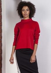 Czerwona wyjściowa trapezowa bluzka ze stójką