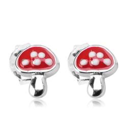 Staviori Kolczyki srebrne grzybki, czerwone muchomorki. Emalia. Srebro 0,925. Wymiary 5,5x6,6 mm.