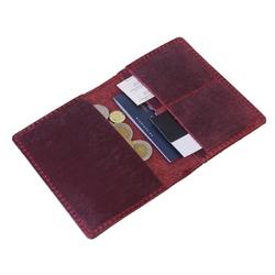 Czerwony skórzany portfel slim wallet brodrene sw01