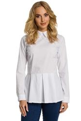 Biała bluzka koszulowa z dołem w kontrafałdy