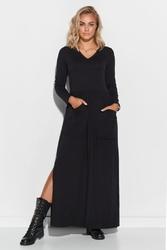 Czarna maxi sukienka z kieszeniami