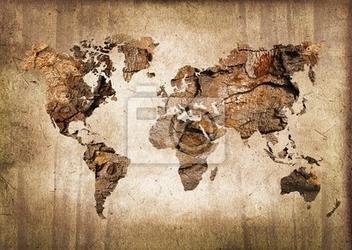 Fototapeta carte du monde bois, zabytkowe tekstury