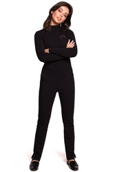 Proste bawełniane spodnie damskie z rozporkami po bokach czarne b124