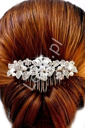 Ślubny grzebyk do włosów, spinka z perełkami i kryształkami