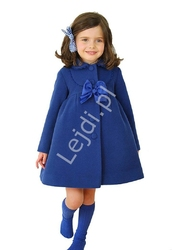 Płaszczyk jesienno - wiosenny dla dziewczynki kolor chabrowy