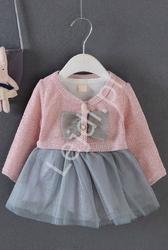 Komplet dla dziewczynki, sukienka z tiulową spódniczką i sweterek, różowy 056