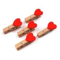 Drewniane klamerki z czerwonym sercem 35mm10 szt - CZE