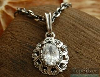 Marlin - srebrny wisiorek z kryształem
