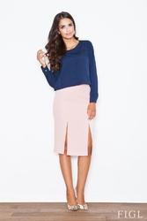 Jasnoróżowa ołówkowa spódnica biznesowa z rozporkami