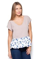 Beżowa bluzka z wzorzystą falbanką
