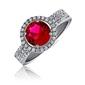 Piękny srebrny pierścionek pr.925 cyrkonia rubinowa - rubinowa