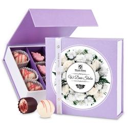 Bombonierka finesse lavender no.2 z okazji ślubu. czekoladki na wesele