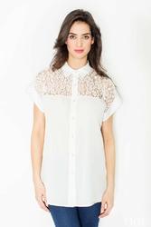 Ecru koszula z krótkim rękawem i koronkową górą
