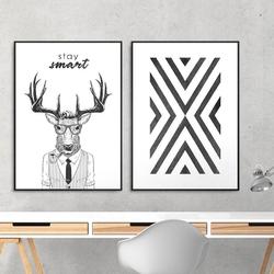 Zestaw dwóch plakatów - stay smart , wymiary - 40cm x 50cm 2 sztuki, kolor ramki - biały