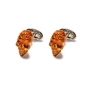 Eleganckie pomarańczowe spinki do mankietów w kształcie czaszki