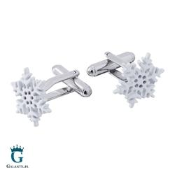 Spinki do mankietów białe płatki śniegu ps-204a