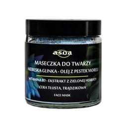 Asoa maska z glinką niebieską do skóry tłustej, mieszanej i trądzikowej 120 ml