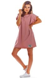 Luźna letnia różowa sukienka z dekoltem v na plecach