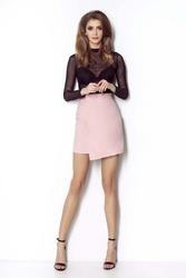 Różowa Dopasowana Spódnica z Asymetrycznym Założeniem