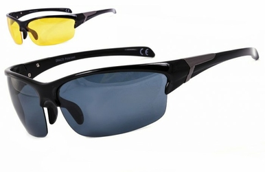 Sportowe okulary z dwoma soczewkami polaryzacyjnymi czarna i zolta - drs-50c1