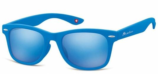 Okulary przeciwsłoneczne Lustrzanki dziecięce wayfarer Montana 965C niebieskie matowe