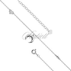 Srebrna bransoletka na nogę pr.925 z księżycem i gwiazdką - rodowanie