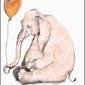 Słonik z balonem, białe tło - plakat wymiar do wyboru: 61x91,5 cm